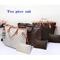 LV Louis Vuitton Stylish Women Shopping Leather Handbag Shoulder And Purse Wallet A Set Two-Piece I