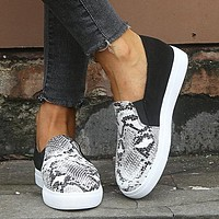 New style cotton shoes deep mouth overshoes flat shoes single shoes snake textures black grey