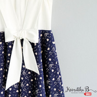 SALE - White top navy skirt Melody print Party Dress Tea Dress Summer Sundress Small