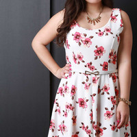 Floral Scoop Neck Sleeveless Belted Fit And Flare Dress