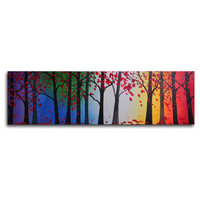"""My Art Outlet Hand Painted """"Trees Hold Hands"""" Canvas Wall Art - 12"""" x 40"""""""