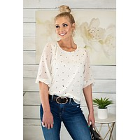 The Sweet Life Sheer Puff Sleeve Blouse : Ivory