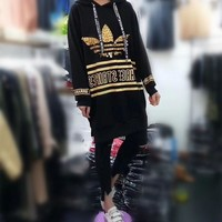 DCCKXT7 Adidas' Women Casual Fashion Sequin Stripe Letter Print Long Sleeve Middle Long Section Hooded Sweater Dress