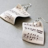 Music Earrings - Sheet music jewelry - Free Shipping