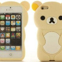 Beige White 3D Teddy Bear Soft Silicone Gel Skin Cover Case for Apple iPhone 5