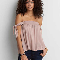 AEO Open Shoulder Tie Sleeve Top , True Black