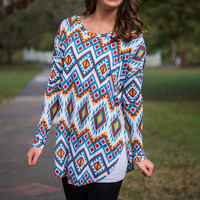 Mexicali Top, Teal-Yellow
