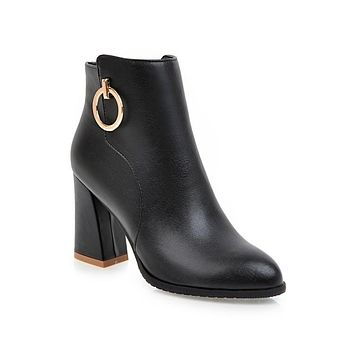 Pu Leather Metal Ring Chunk High Heels Boots for Women 9767