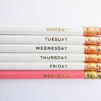 Hello Weekend Pencils - White, Pink, & Gold, Set of 6