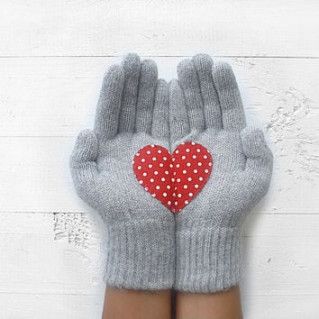 VALENTINE'S DAY GIFT, Heart Gloves, Hearts, Gray, Grey, Polka Dot, Special Gift, Love, Romantic Gift, Valentine's, Gift For Her, Woman