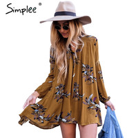 Simplee Boho floral print vintage dress Women autumn hollow out lantern sleeve short dress Loose pleated winter dress vestidos