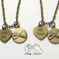 2 Her One His Only Pinky Promise Necklaces - Hand Stamped Heart Couples Jewelry  - Bronze Boyfriend Girlfriend Necklaces - His Hers Necklace