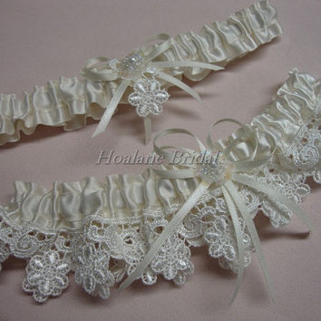 Garter set, Lace garter set, Bridal garter set