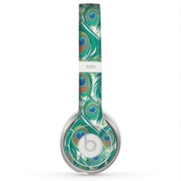 The Peacock Green Feather Bundle Skin for the Beats by Dre Solo 2 Headphones