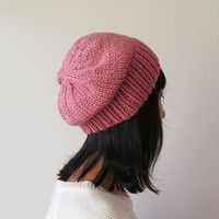 Rose Pink Slouchy Hat, Pink Knit Chunky Slouch Hat, Women Knit Hat, Wool Blend Hat, Seamless Winter Beanie, Gift for Her, Made to Order