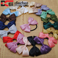 2pc assorted colors sweety solid satin ribbon bows elastics rubber bands hair rope hair ties accessories for women headwear