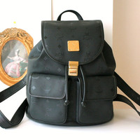 Authentic MCM Germany Black Canvas Vintage Large Backpack