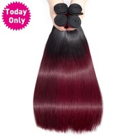 TODAY ONLY 1/3/ 4 Bundles Burgundy Brazilian Straight Hair Bundles Ombre Human Hair Bundles 1b 99J Brazilian Hair Weave Bundles