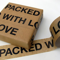 Sticky paper tape 'Packed with Love'