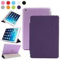 BESDATA Ultra Thin Magnetic Smart Cover for Apple iPad Mini 1st Generation [Wake/Sleep Function] Translucent Back Case + Screen Protector + Cleaning Cloth + Stylus (Purple)