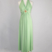 Slinky Vintage 70s Mint Green Halter Dress Fancy Beaded Center Maxi Dress