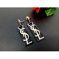 YSL Popular Ladies Metal Letter Black Frame Earrings Stud Earrings