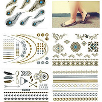 Metallic Gold Silver Black Jewelry Temporary Bling Tattoo All-In-One Package 5 Sheets (Style#4)
