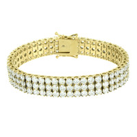 3 Row Mens Bracelet Yellow Gold Over Stainless Steel Round Cut Prong Lab Diamond