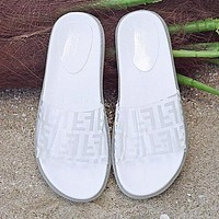FENDI Summer Newest Popular Women Casual Thick Sole Transparent Jelly Flat Sandal Slippers Shoes White