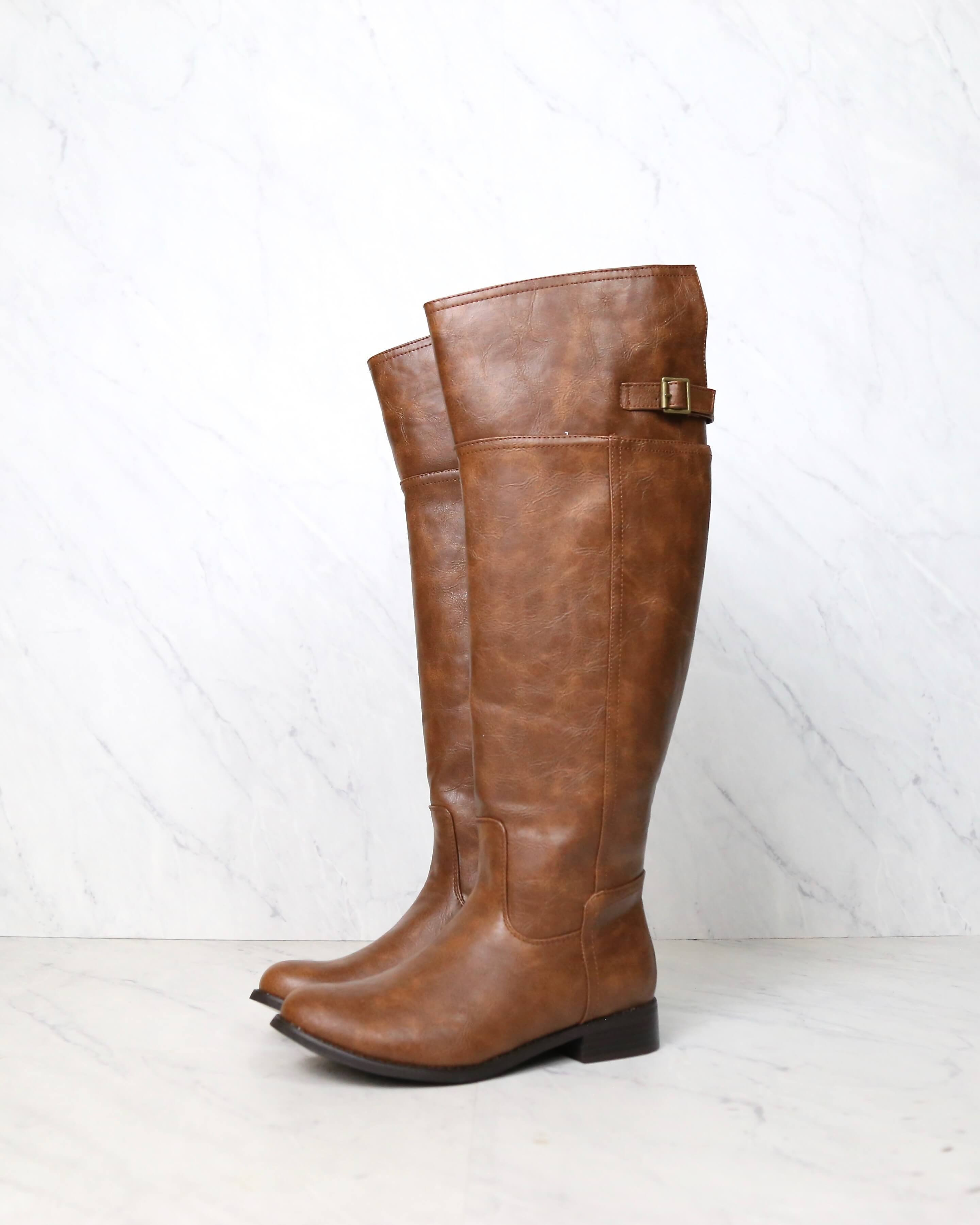 Image of Rider's Women's Distressed Tall Riding Boots in Tan