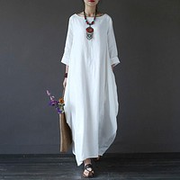 Women Crew Neck Loose Casual Solid Cotton Baggy Oversized Long Maxi Dress