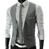 New Arrival Dress Vests For Men Slim Fit Mens Suit Vest Male Waistcoat  Casual Sleeveless Formal Business Jacket