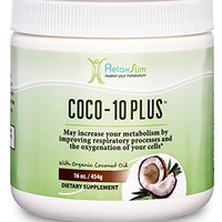 """RelaxSlim """"Super"""" Organic Coconut Oil with CoQ10, Formulated by Obesity and Metabolism Specialist to Improve Energy Levels and Assist with Weight Loss- Natural Fat Burner to Support any Diet Attempt- 16 Ounces"""
