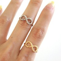 SJ Style Best Friends Engraved Twisted Infinity Ring Gold Silver