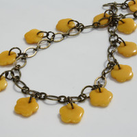 Young Girl/Teen Bright Yellow Flower Tagua Nut Charm Anklet Antique Brass Chain Link