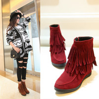 On Sale Hot Deal Autumn Suede Tassels Flat Height Increase Casual Plus Size Boots [6366199748]
