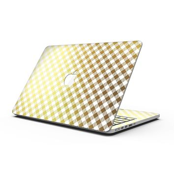 Gold and White Plaid Picnic Table Pattern - MacBook Pro with Retina Display Full-Coverage Skin Kit