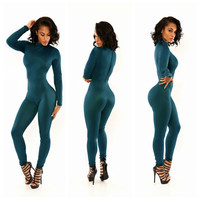 Green Turtleneck Long Sleeve Jumpsuit