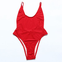 2016 Sexy High Cut Swimwear One Piece Swimsuit Women Monokini Deep V Bathing Suit Beachwear Red Black White