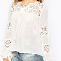 ASOS 70s Blouse With Lace Insert