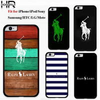 Luxurious Striped Polo Ralph Lauren Cell Phone Cases for iPhone 5 6 Cover for Samsung Galaxy S6 Brand Case S5 Shell Accessories