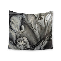 """Abstract Anarchy Design """"Inner Chaos """" Black Abstract Wall Tapestry"""