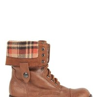 Flat Combat Boot with Plaid Foldover Cuff and Lace Up Front