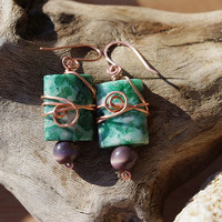 Fun and funky wire wrapped beaded earrings, moss agate and copper