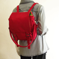 Canvas messenger bag / 14 oz. red canvas / shoulder bag / backpack / Jane