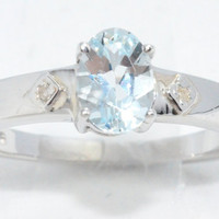 1.5 Carat Genuine Aquamarine Oval Diamond Ring .925 Sterling Silver Rhodium Finish White Gold Quality
