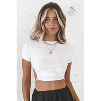 Can't Back Out White Backless Top