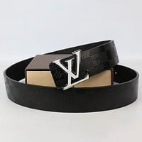 Perfect Louis Vuitton Woman Men Fashion Smooth Buckle Belt Leather Belt