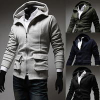 Trendy Fashion Men Hoodie Jacket with Pockets