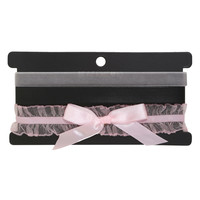 Blackheart Black Faux Leather Grey Velvet & Pink Lace Choker Set